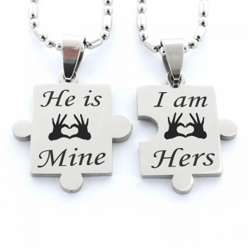 Partner Anhänger Puzzleteile Variante 4: He is Mine, I am Hers