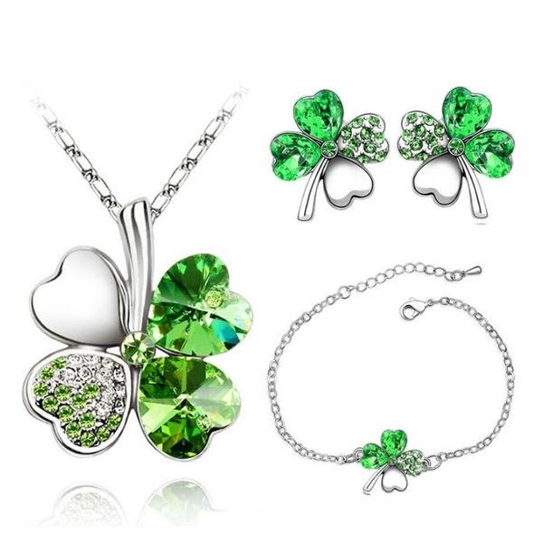 3-teilges Set Halskette, Armband, Ohrringe mit vierblättrigem Kleeblatt und  grünem Strassstein. fd42617d37