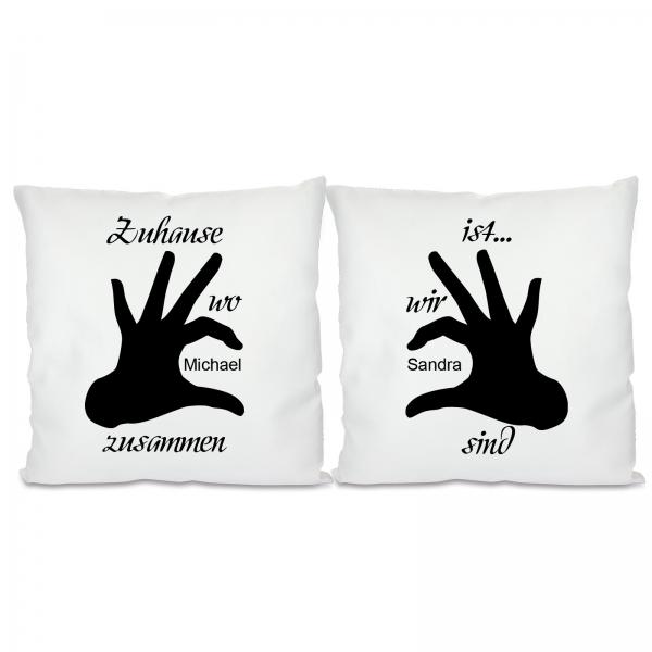 schmuck und accessoires mit pers nlicher wunschgravur kissen 2er set mit motiv modell. Black Bedroom Furniture Sets. Home Design Ideas