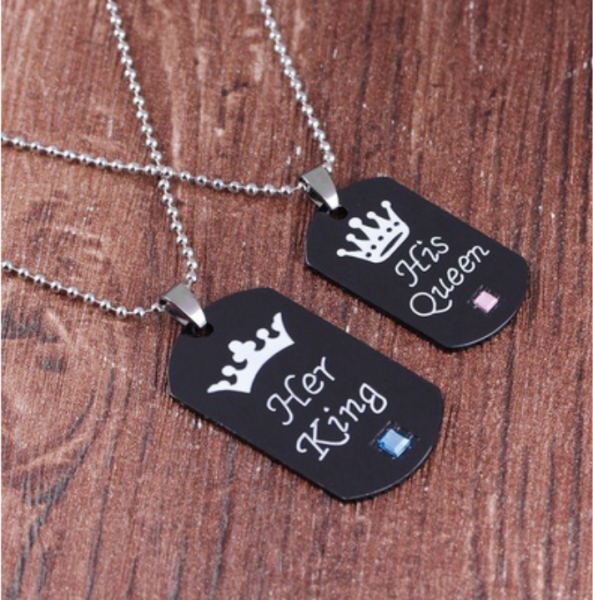 Partner Set Dog Tag Anhänger His Queen Her King